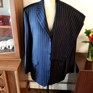CANALI Stunning Bold Striped Gangster Deco Suit 44